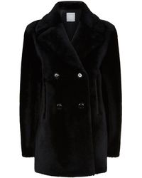 Sandro - Shearling Double-breasted Coat - Lyst