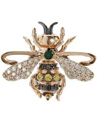 Bee Goddess - Rose Gold, Diamond And Emerald Queen Bee Stud Earring - Lyst
