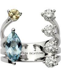 Delfina Delettrez - Diamond And Aquamarine Dots Ring, White, 53 - Lyst