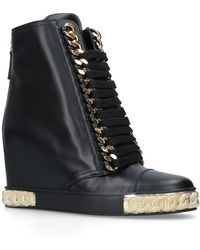 Casadei - Leather Chain Platform Boots 80 - Lyst