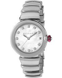BVLGARI - Stainless Steel Lvcea Diamond Watch 33mm - Lyst
