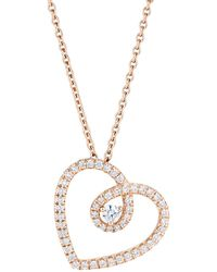 De Beers - Rose Gold And Micropav Diamond Heart Pendant Necklace - Lyst