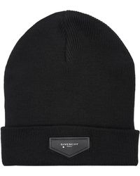Givenchy - Leather Patch Beanie Hat - Lyst