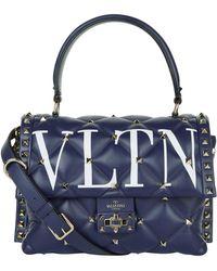 Valentino - Leather Vltn Candystud Top Handle Bag - Lyst