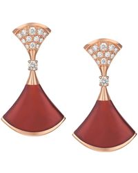 BVLGARI | Rose Gold Carnelian And Diamond Divas' Dream Earrings | Lyst
