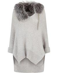 Fabiana Filippi - Fox Fur Trim Sweater - Lyst