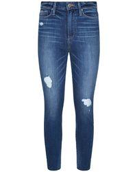 PAIGE - Margot Crop Cliff's Edge Destructed Raw Hem Jeans - Lyst
