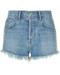 Sandrine Rose - Stud Embellished Denim Shorts - Lyst