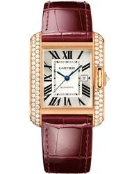 Cartier - Large Pink Gold Tank Anglaise Diamond Watch 29mm - Lyst