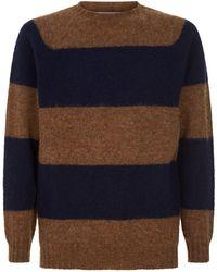 Officine Generale - Crew Neck Striped Wool Sweater - Lyst