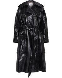 Nanushka Ambar Faux Patent Leather Trench Coat - Black