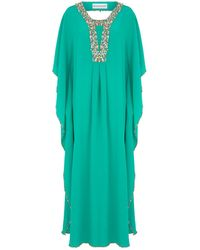 Maryan Mehlhorn - Square Neck Embroidered Kaftan - Lyst