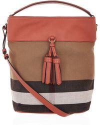 Burberry - Medium Ashby Check Tassel Bag - Lyst