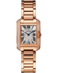 Cartier - Small Pink Gold Tank Anglaise Diamond Watch 23mm - Lyst