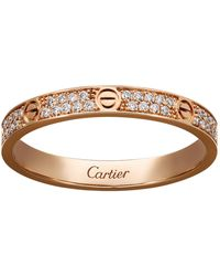 Cartier - Small Pink Gold Diamond Love Ring - Lyst
