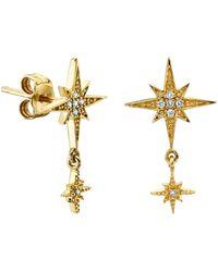 Sydney Evan - Yellow Gold Starburst Drop Earrings - Lyst