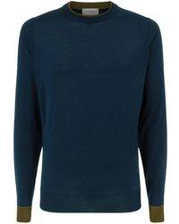 John Smedley - Tipped Collar Merino Wool Sweater - Lyst