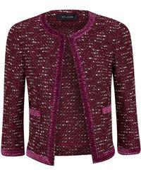 St. John - Knitted Velvet Trim Jacket - Lyst