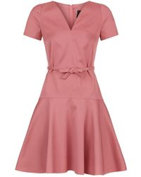 Paule Ka - Belted Fit-and-flare Dress - Lyst