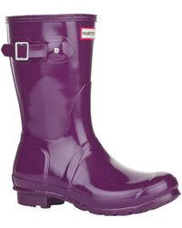 HUNTER - Original Short Gloss Violet Wellington Boot - Lyst