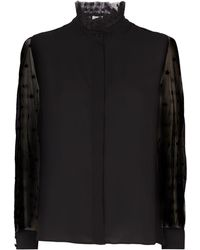 Claudie Pierlot - Star Mesh Sleeve Blouse - Lyst
