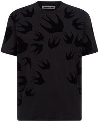McQ - Flocked Swallow T-shirt - Lyst