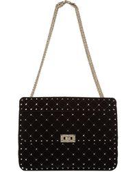 Valentino - Large Velvet Rockstud Shoulder Bag - Lyst