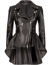 Alexander McQueen - Leather Peplum Jacket - Lyst