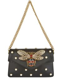 ba99a29e9 Lyst - Gucci Broadway Small Leather Shoulder Bag in Black