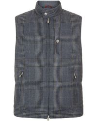 Brunello Cucinelli - Padded Check Wool Gilet - Lyst