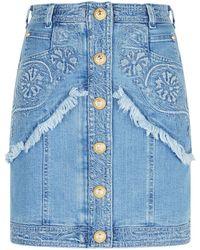 Balmain - Embroidered Denim Mini Skirt - Lyst