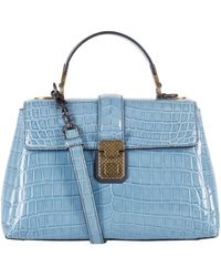 5bc73e22ae3d Bottega Veneta - Small Crocodile Leather Piazza Top Handle Bag - Lyst