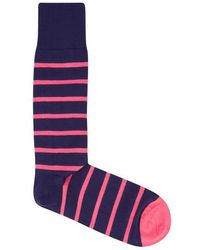 Paul Smith - Navy Striped Cotton Blend Socks - Lyst