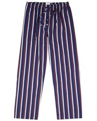 Derek Rose - Navy Striped Cotton Pyjama Trousers - Lyst
