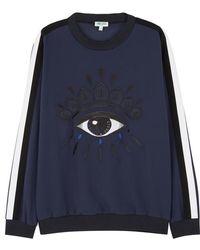 KENZO - Navy Eye-embroidered Cady Sweatshirt - Lyst