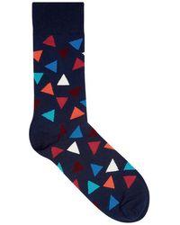 Happy Socks   Triangle Navy Cotton Blend Socks   Lyst