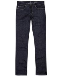 7 For All Mankind - Slimmy Indigo Straight-leg Jeans - Lyst