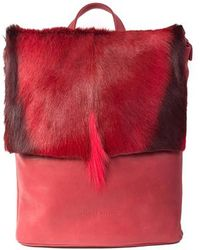 Sherene Melinda - Red Leather Backpack With A Stripe - Lyst