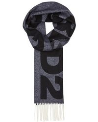 DSquared² - Navy Logo Wool Scarf - Lyst