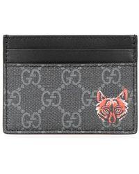 Gucci - GG Supreme Black Leather Cardholder - Lyst
