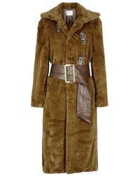 Toga Pulla - Brown Embellished Faux Fur Coat - Lyst