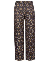 Varana - Navy And Gold Trousers - Lyst