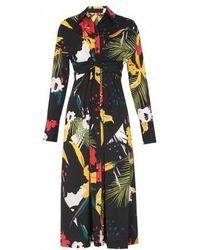 Kitri - Phoenix Floral Tie Waist Shirt Dress - Lyst