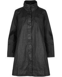 Eileen Fisher - Black Waxed Stretch-cotton Jacket - Lyst