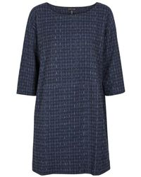 Eileen Fisher - Navy Striped Jacquard Dress - Lyst
