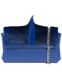 Sherene Melinda Royal Sophy Springbok Leather Clutch Bag With A Fan - Blue