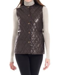 Max Studio - Quilted Soft Leather Vest - Lyst
