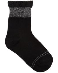 Pierre Mantoux - Black Ruffle-trimmed Cotton Blend Socks - Size 3/4 - Lyst
