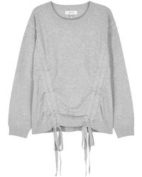 MILLY - Grey Ruched Knitted Sweatshirt - Lyst