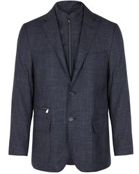 Corneliani - Navy Basket-weave Wool Blend Blazer - Lyst